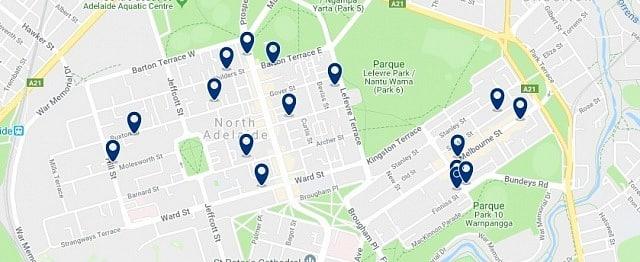 Alojamiento en North Adelaide - Haz clic para ver todo el alojamiento disponible en esta zona