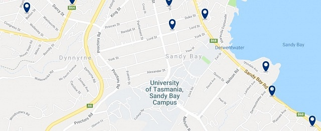 Accommodation in Sandy Bay - Click on the map to see all accommodation in this area