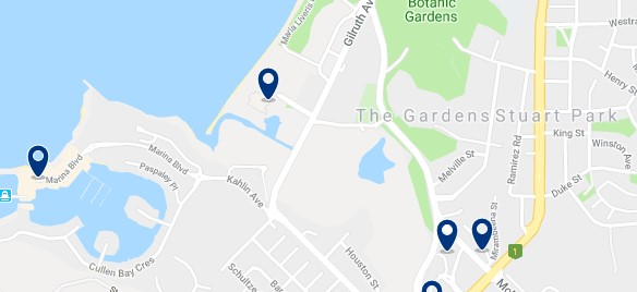 Alojamiento en The Gardens - Click on the map to see all available accommodation in this area