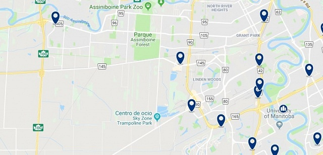 Accommodation in Fort Garry - Click on the map to see all available accommodation in this area