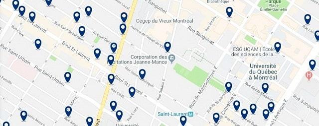 Alojamiento en Quartier des Spectacles – Clica sobre el mapa para ver todo el alojamiento en esta zona