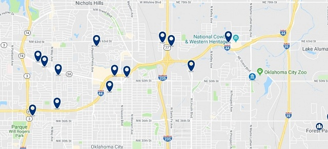 Accommodation in North Oklahoma City - Click on the map to see all available accommodation in this area