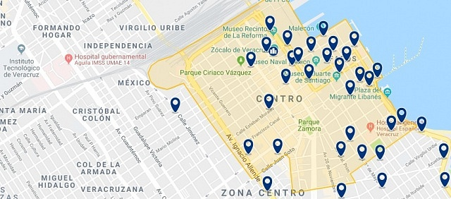 Accommodation in Veracruz City Center - Click on the map to see all available accommodation in this area