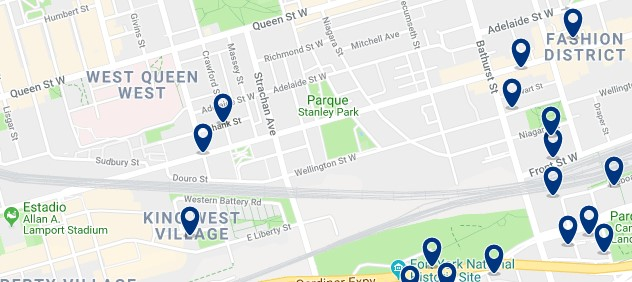 Alojamiento en West Queen West - Clica sobre el mapa para ver todo el alojamiento en esta zona