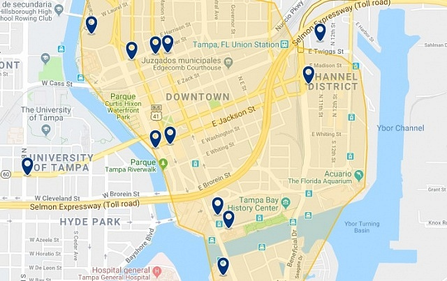 Accommodation in Downtown Tampa - Click on the map to see all available accommodation in this area