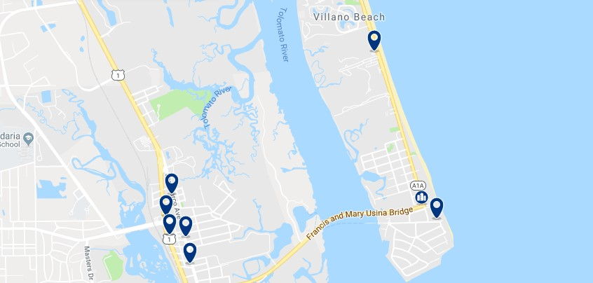 Accommodation in Vilano Beach - Click on the map to see all available accommodation in this area