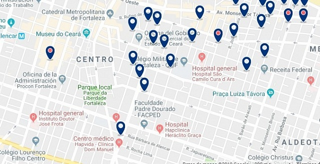 Accommodation in Fortaleza City Center - Click on the map to see all available accommodation in this area