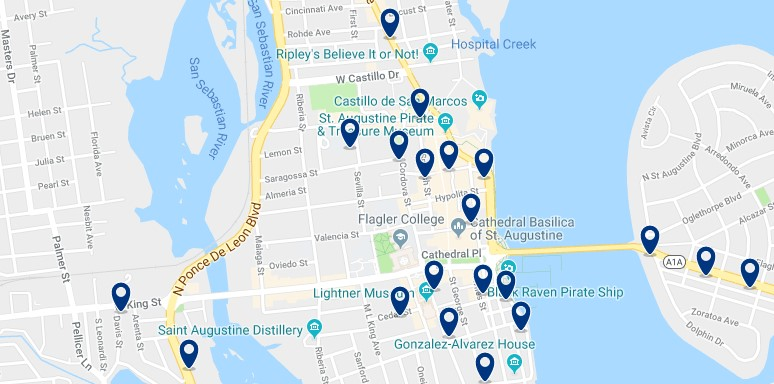 Accommodation in Saint Augustine's Historic District - Click on the map to see all available accommodation in this area