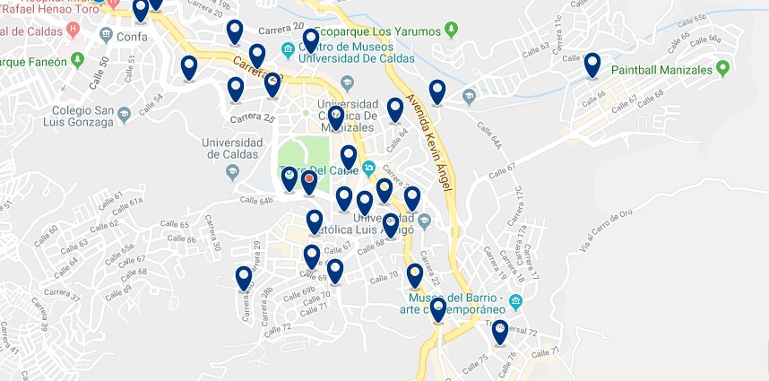Accommodation in Manizales - Click on the map to see all accommodation in this area