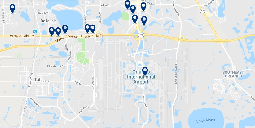 Accommodation near Orlando International Airport - Click on the map to see all available accommodation in this area