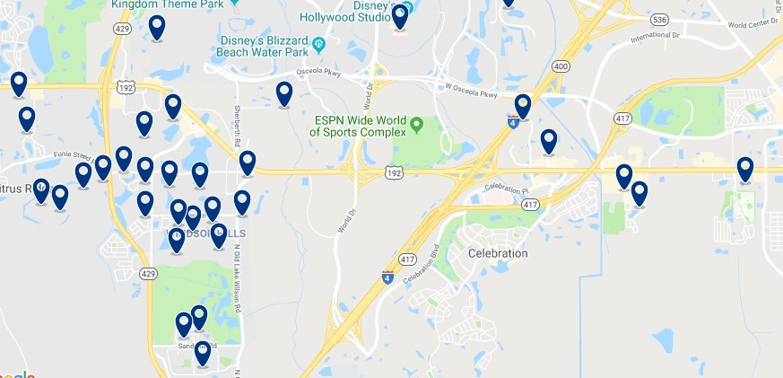 Accommodation in Celebration - Near Disney World - Click on the map to see all available accommodation in this area