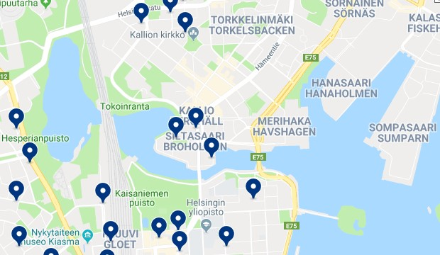 Accommodation in Kallio - Click on the map to see all available accommodation in this area