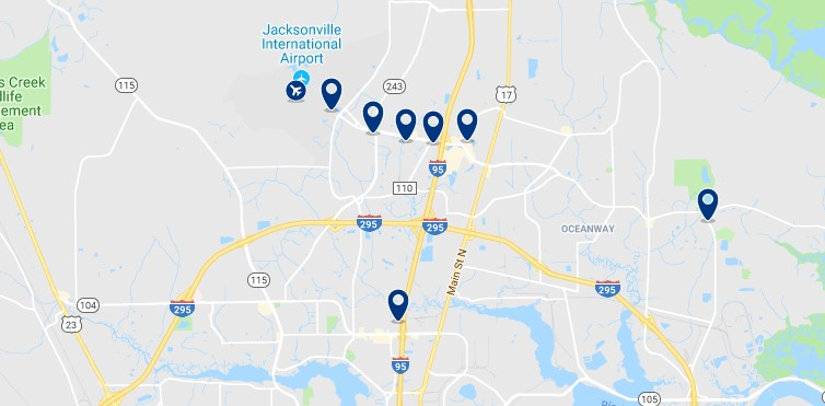 Accommodation in North Jacksonville - Click on the map to see all available accommodation in this area