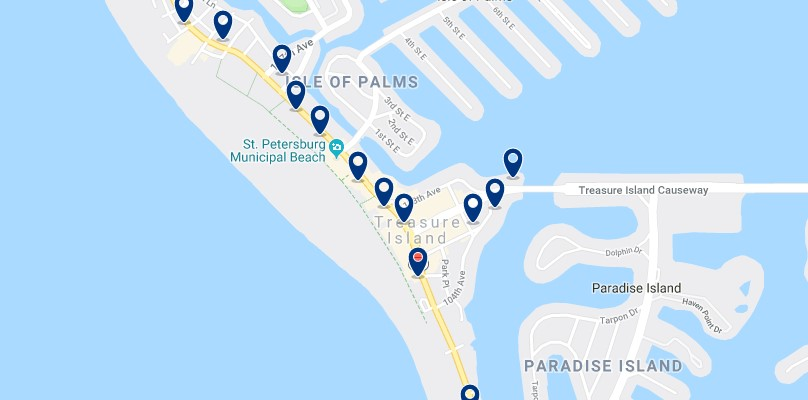 Accommodation in Treasure Island - Click on the map to see all available accommodation in this area