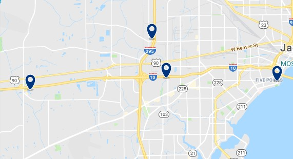 Accommodation in West Jacksonville - Click on the map to see all available accommodation in this area