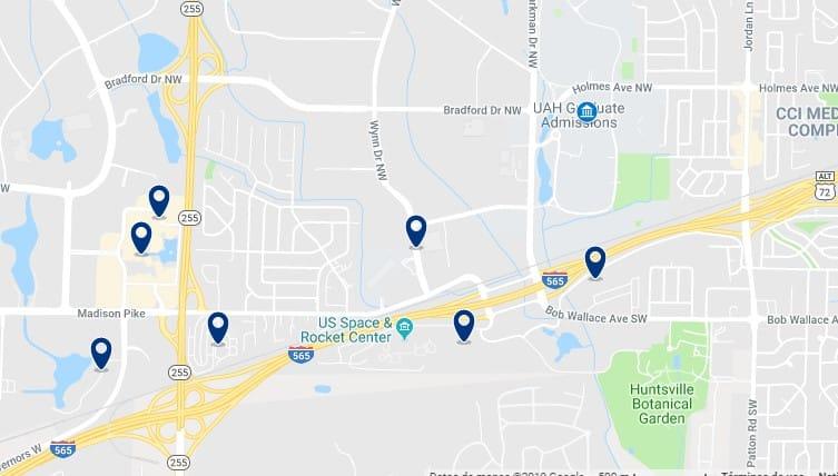 Alojamiento cerca de la Universidad de Alabama y el U.S. Space & Rocket Center - Haz clic para ver todos el alojamiento disponible en esta zona
