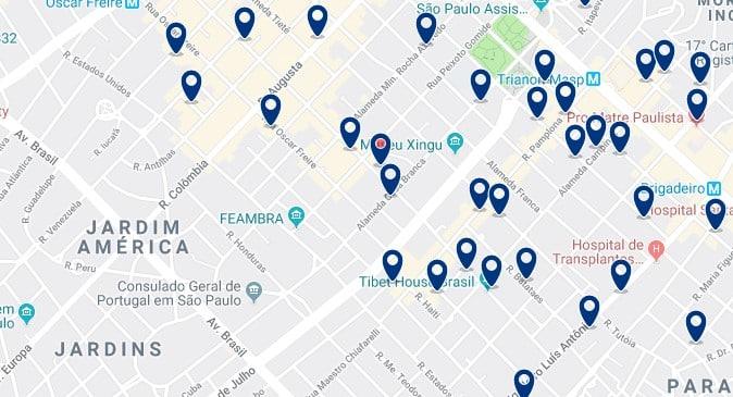 Alojamiento en Jardins - Clica sobre el mapa para ver todo el alojamiento en esta zona