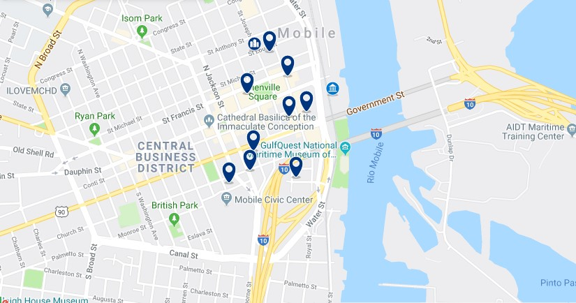 Accommodation in Mobile Central Business District - Click on the map to see all available accommodation in this area