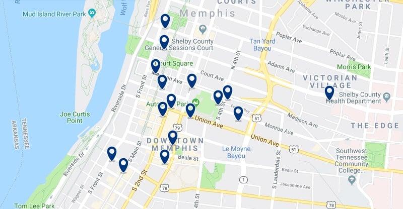 Alojamiento en Downtown Memphis - Haz clic para ver todos el alojamiento disponible en esta zona