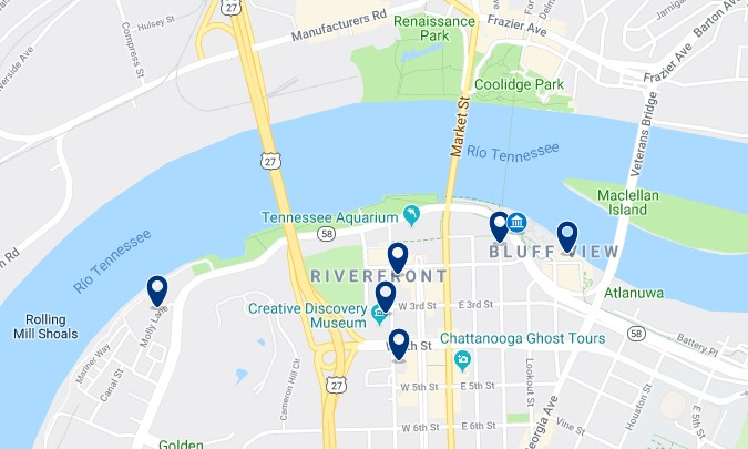 Alojamiento cerca del Chattanooga Riverwalk - Haz clic para ver todos el alojamiento disponible en esta zona