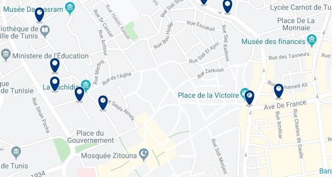 Alojamiento cerca de la Medina - Clica sobre el mapa para ver todo el alojamiento en esta zona