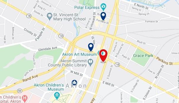 Alojamiento en Downtown Akron - Clica sobre el mapa para ver todo el alojamiento en esta zona