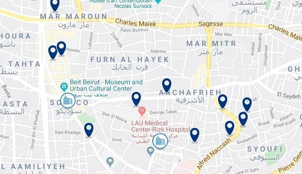 Alojamiento en Archafrieh - Clica sobre el mapa para ver todo el alojamiento en esta zona