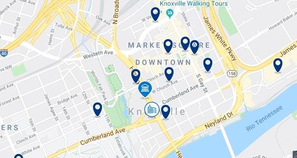 Alojamiento en Downtown Knoxville - Clica sobre el mapa para ver todo el alojamiento en esta zona