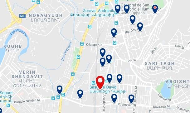 Alojamiento cerca de la Estación Central de Ereván - Clica sobre el mapa para ver todo el alojamiento en esta zona