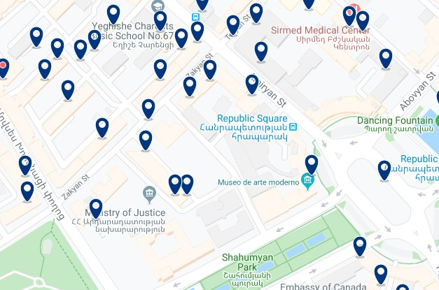 Alojamiento cerca de la Fortaleza de Erebuni - Clica sobre el mapa para ver todo el alojamiento en esta zona