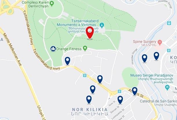 Alojamiento cerca del Monumento al Genocidio Armenio - Clica sobre el mapa para ver todo el alojamiento en esta zona