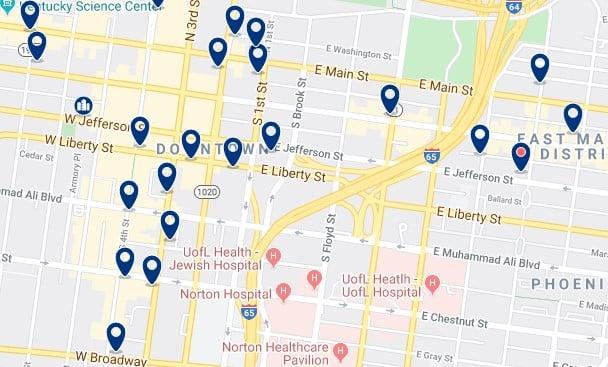 Alojamiento en Downtown Louisville - Clica sobre el mapa para ver todo el alojamiento en esta zona