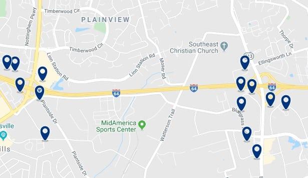 Alojamiento en East Louisville - Clica sobre el mapa para ver todo el alojamiento en esta zona