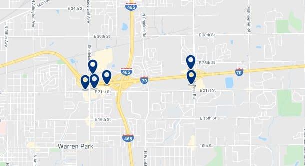 Alojamiento en Indianapolis East - Clica sobre el mapa para ver todo el alojamiento en esta zona