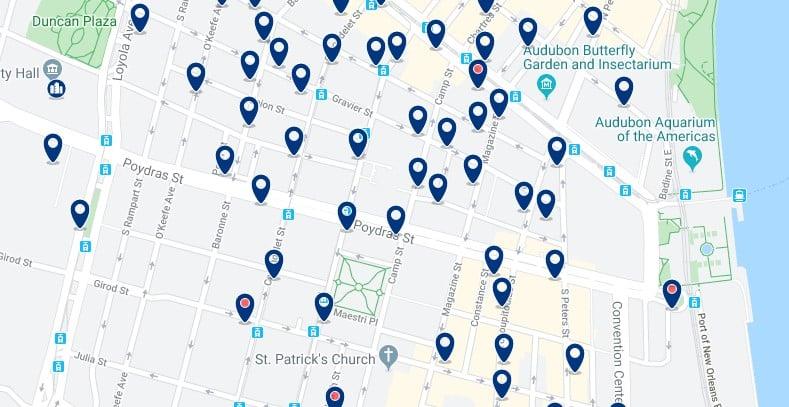 Alojamiento en Downtown New Orleans - Clica sobre el mapa para ver todo el alojamiento en esta zona