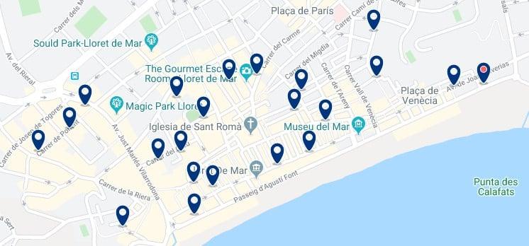 Alojamiento en el centro de Lloret de Mar - Clica sobre el mapa para ver todo el alojamiento en esta zona