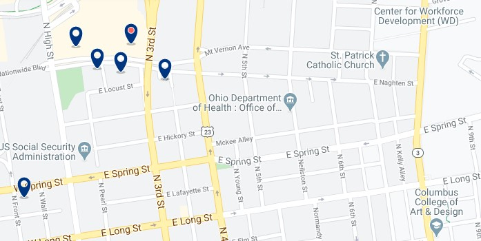 Accommodation in Downtown Columbus - Click on the map to see all available accommodation in this area