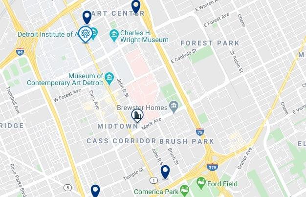 Alojamiento en Midtown & Art Center - Clica sobre el mapa para ver todo el alojamiento en esta zona