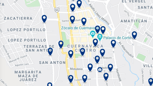 Accommodation in Cuernavaca City Center – Click on the map to see all available accommodation in this area