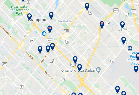 Accommodation in Brampton City Centre - Click on the map to see all available accommodation in this area