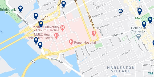 Accommodation in Downtown Charleston - Click on the map to see all available accommodation in this area