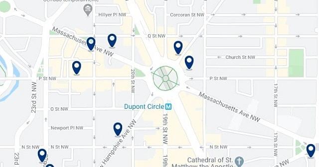 Alojamiento en Dupont Circle - Clica sobre el mapa para ver todo el alojamiento en esta zona