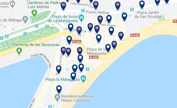 Alojamiento en La Malagueta - Clica sobre el mapa para ver todo el alojamiento en esta zona