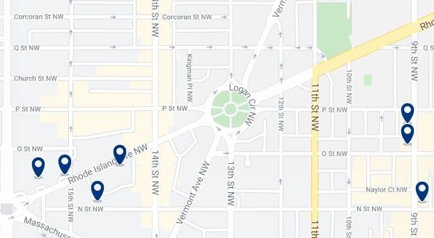 Alojamiento en Logan Circle - Clica sobre el mapa para ver todo el alojamiento en esta zona