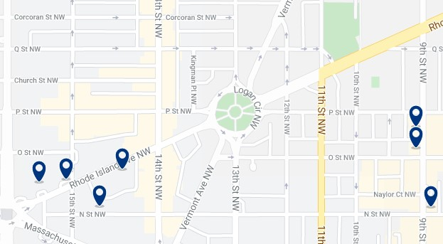 Accommodation in Logan Circle - Click on the map to see all available accommodation in this area