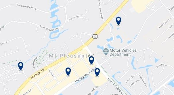 Alojamiento en Mount Pleasant - Clica sobre el mapa para ver todo el alojamiento en esta zona