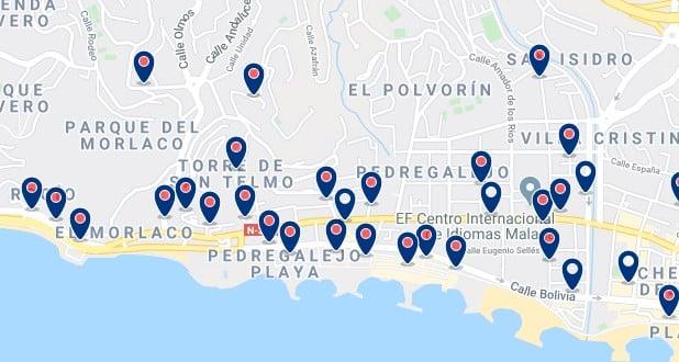 Alojamiento en Pedregalejo - Clica sobre el mapa para ver todo el alojamiento en esta zona