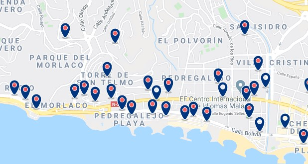 Accommodation in Pedregalejo - Click on the map to see all available accommodation in this area