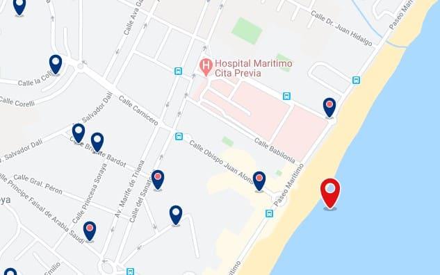 Alojamiento en playa Los Álamos & Playamar - Clica sobre el mapa para ver todo el alojamiento en esta zona