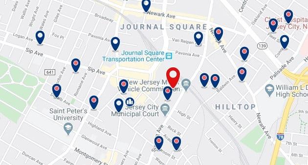 Alojamiento cerca de la estación de metro Journal Square - Clica sobre el mapa para ver todo el alojamiento en esta zona